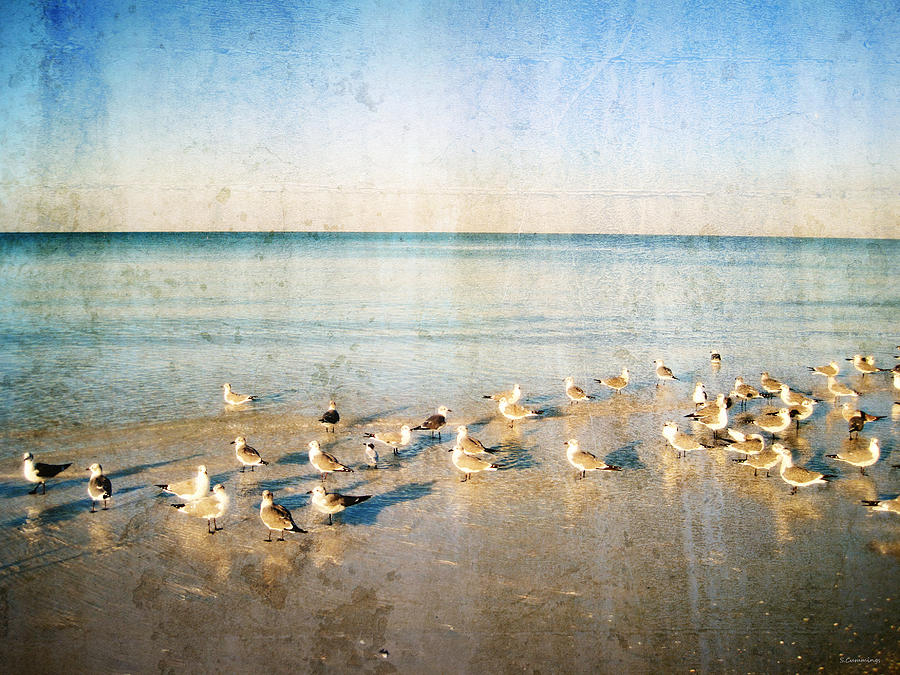 Landscape Painting - Seagulls Gathering By Sharon Cummigs by William Patrick