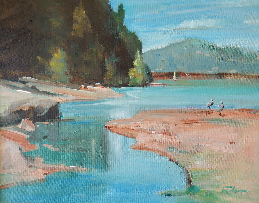 Seagulls Painting - Seagulls In The Shallows by Ron Wilson