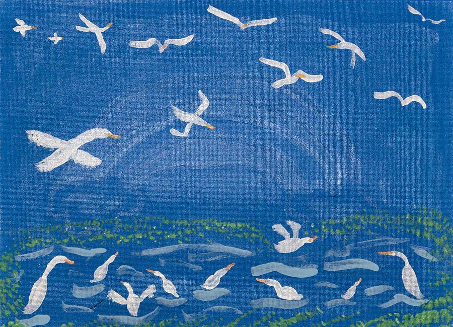 Ocean Painting - Seagulls by Melissa Dawn
