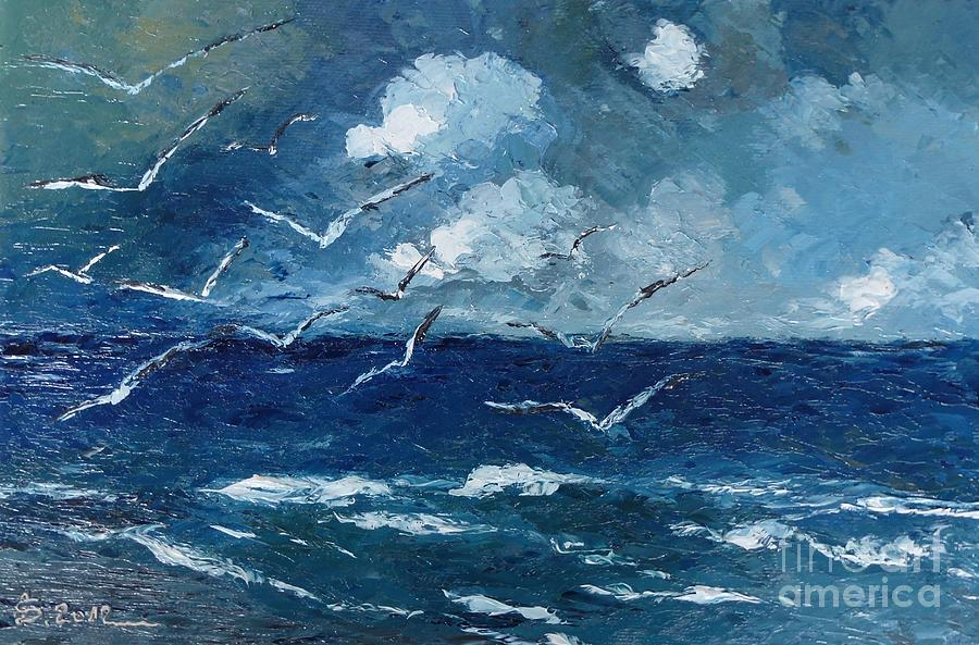 Seagulls Over Adriatic Sea Painting By Amas Art