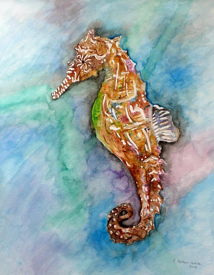 Seahorse Painting - Seahorse by E White