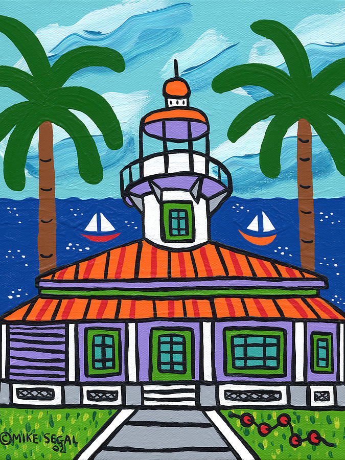 Light House Painting - Seahorse Key Lighthouse by Mike Segal
