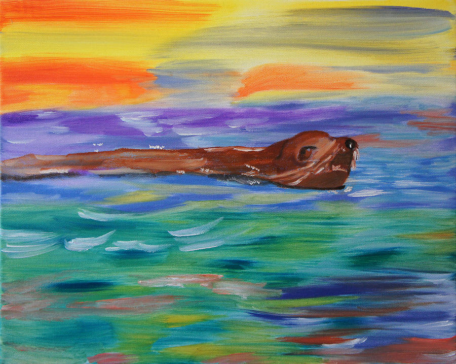 Sealion Painting - Sunny Sea Lion by Meryl Goudey