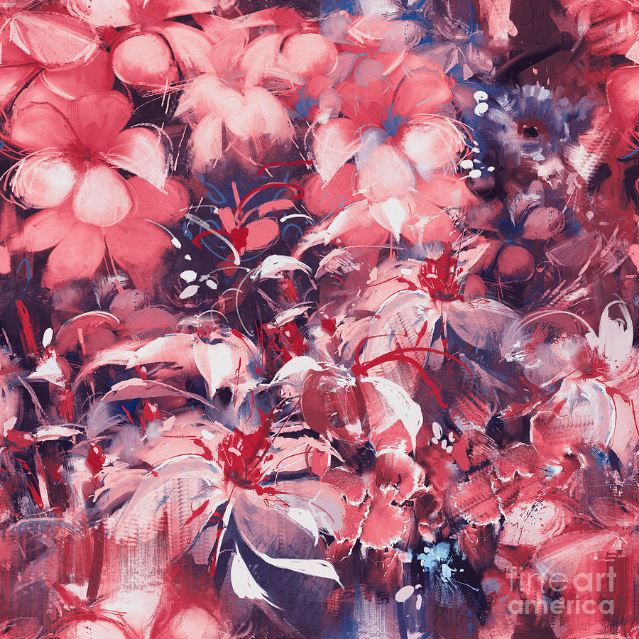 Floral Digital Art - Seamless Abstract Flowersoil Painting by Tithi Luadthong