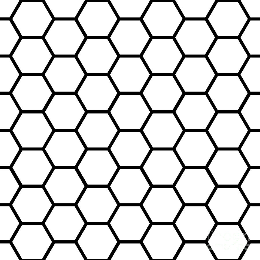 Seamless Black Honeycomb Pattern Over White Digital Art By