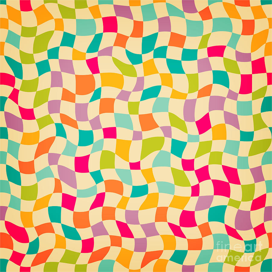 Illustrations Digital Art - Seamless Color Mosaic Background by New Line