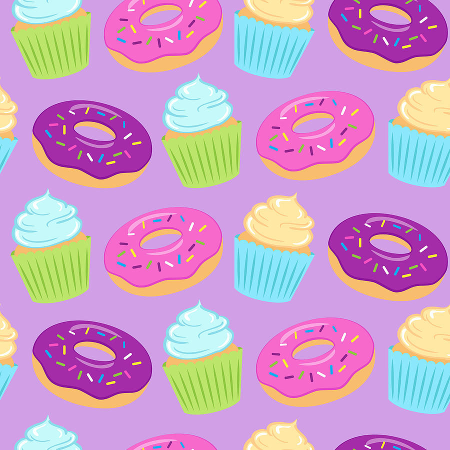 Seamless Colorful Pattern With Donuts Digital Art by Ekaterina Bedoeva
