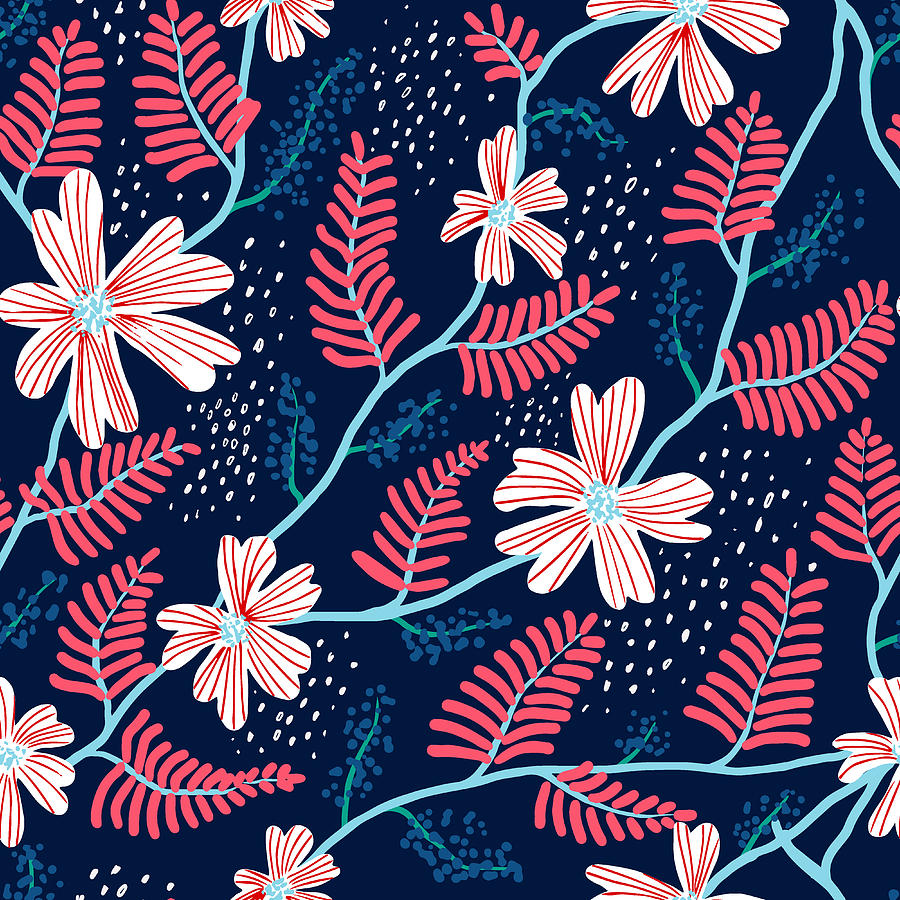 Seamless Floral Pattern Digital Art by Flovie