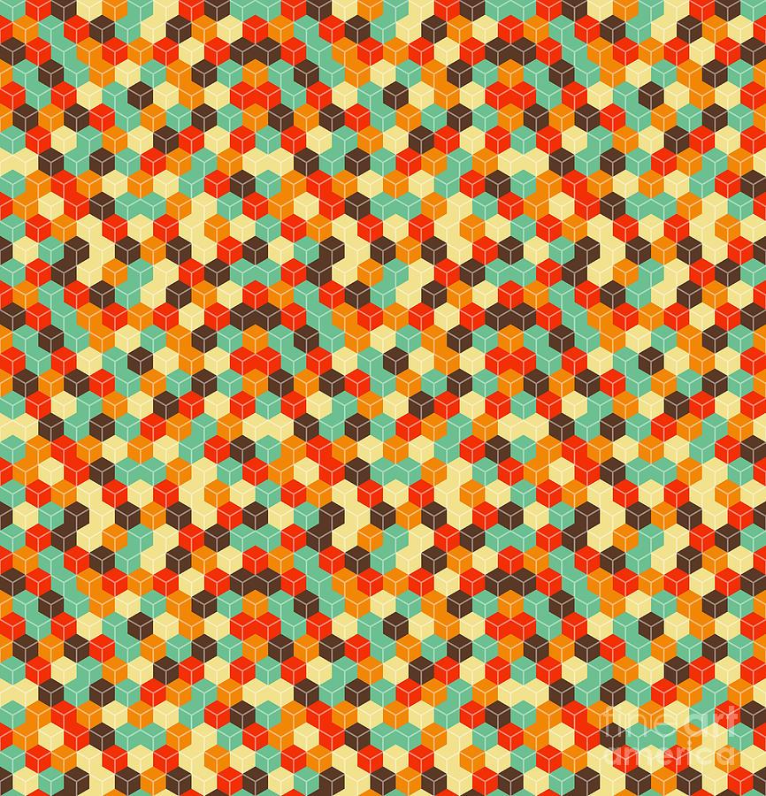 Hexagon Digital Art - Seamless Hexagonal - Cube, Cubic by Ravennka