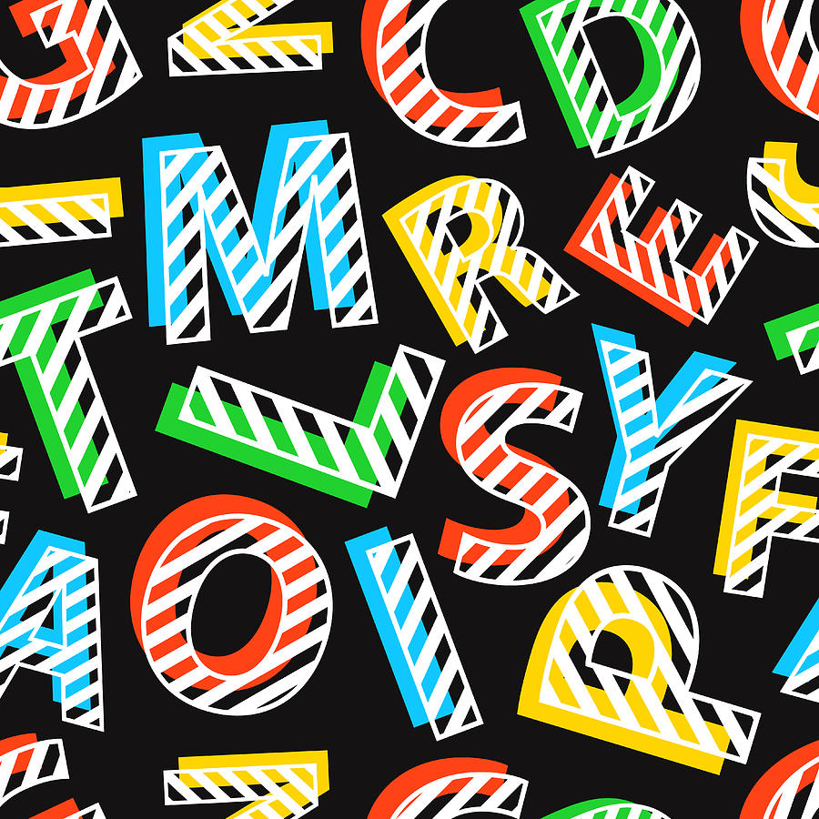 Seamless Pattern Of Colorful Letters On Digital Art by Ekaterina Bedoeva