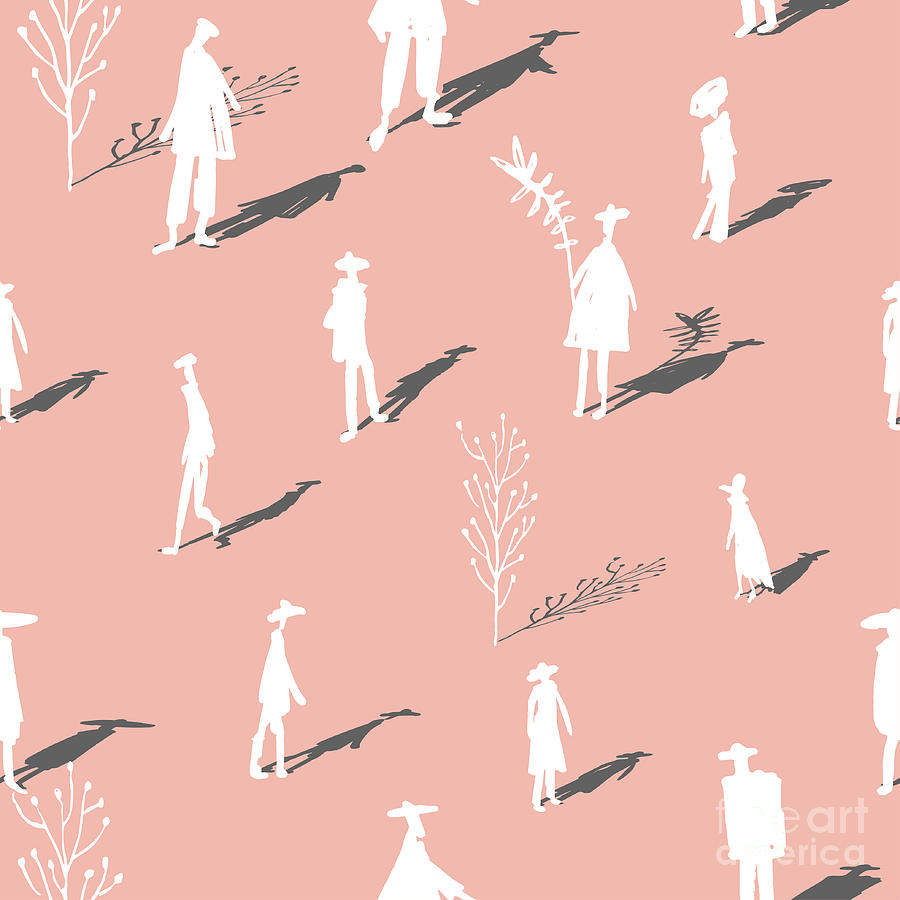 Shadow Digital Art - Seamless Pattern Of Trees And People by Yurta