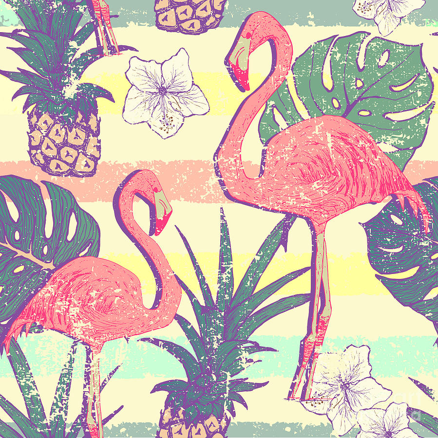 Shadow Digital Art - Seamless Pattern With Flamingo Birds by Julia blnk