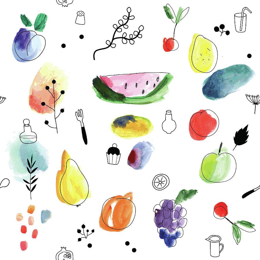 Seamless Pattern With Fruits, Berries Digital Art by Loliputa
