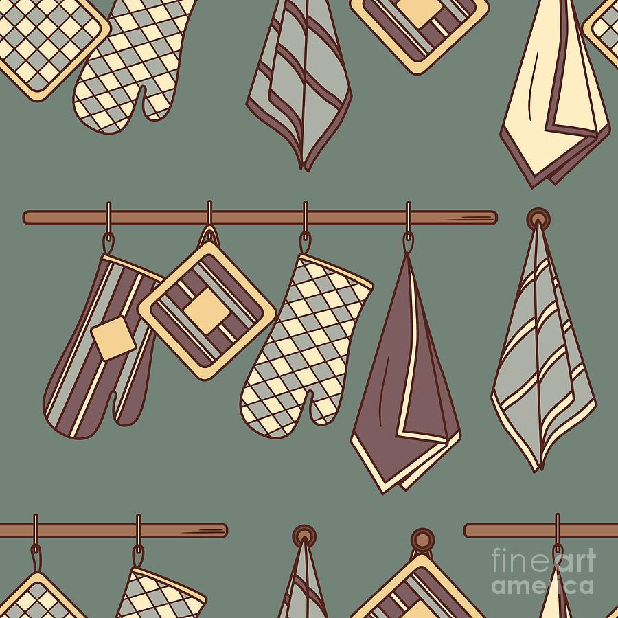 Symbol Digital Art - Seamless Pattern With Kitchen Textiles by Talirina