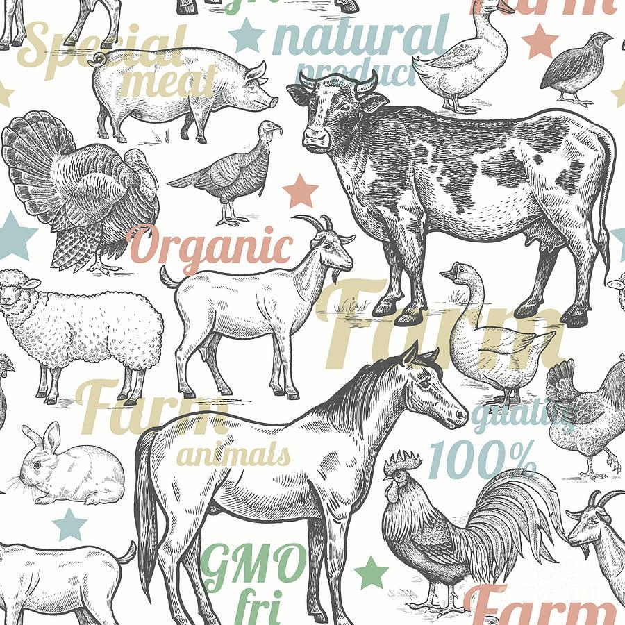 Engraving Digital Art - Seamless Pattern With Livestock by Mamita