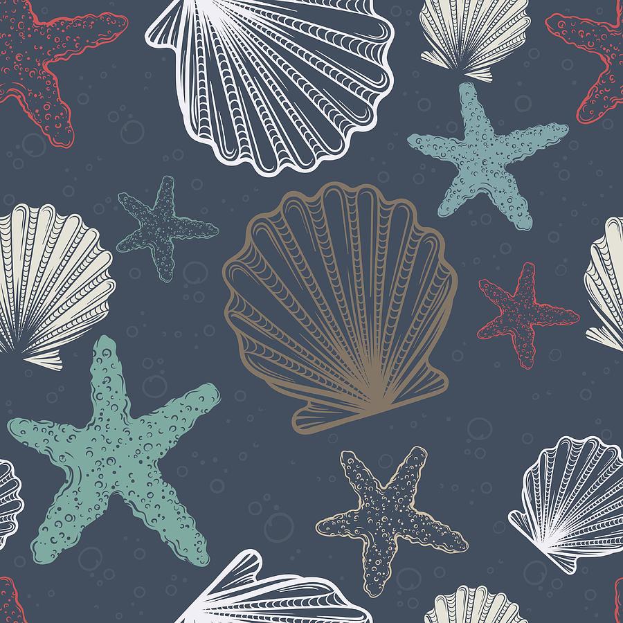 Seamless Pattern With Shells And Digital Art by Olga antoshevskaya
