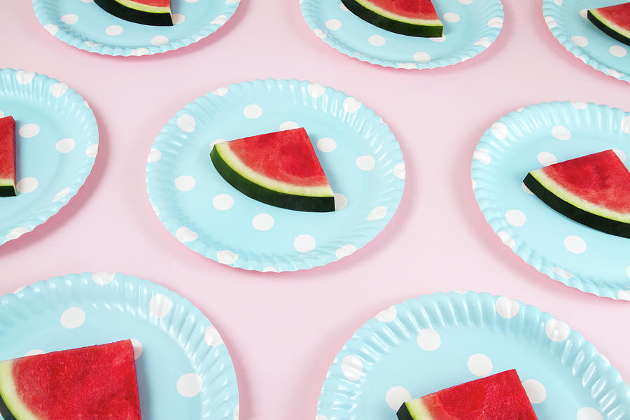 Seamless Pattern With Watermelon Slices Photograph by Anilakkus