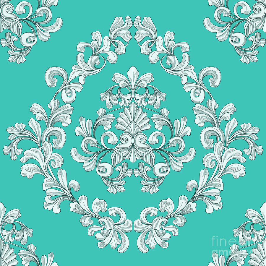 Seamless Tiling Floral Wallpaper Pattern Mixed Media By Christos