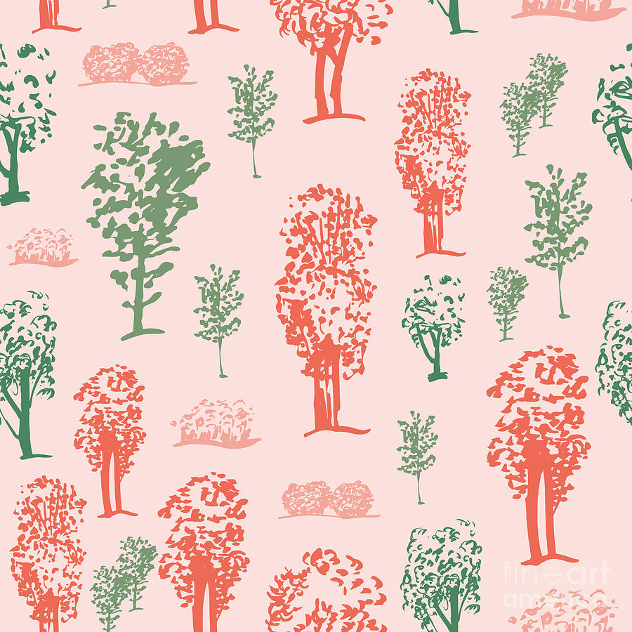 Forest Digital Art - Seamless Tree Pattern, Deciduous Trees by Zzorna