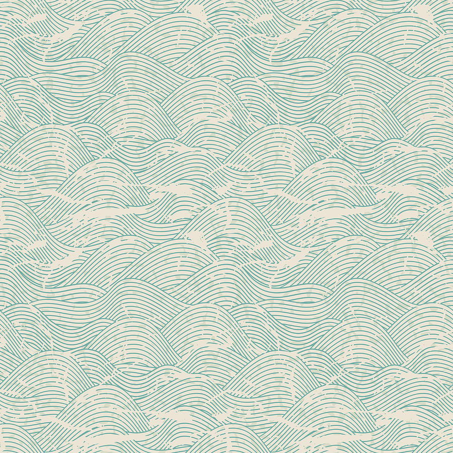Seamless Wave Pattern In Blue And White Digital Art by Incomible