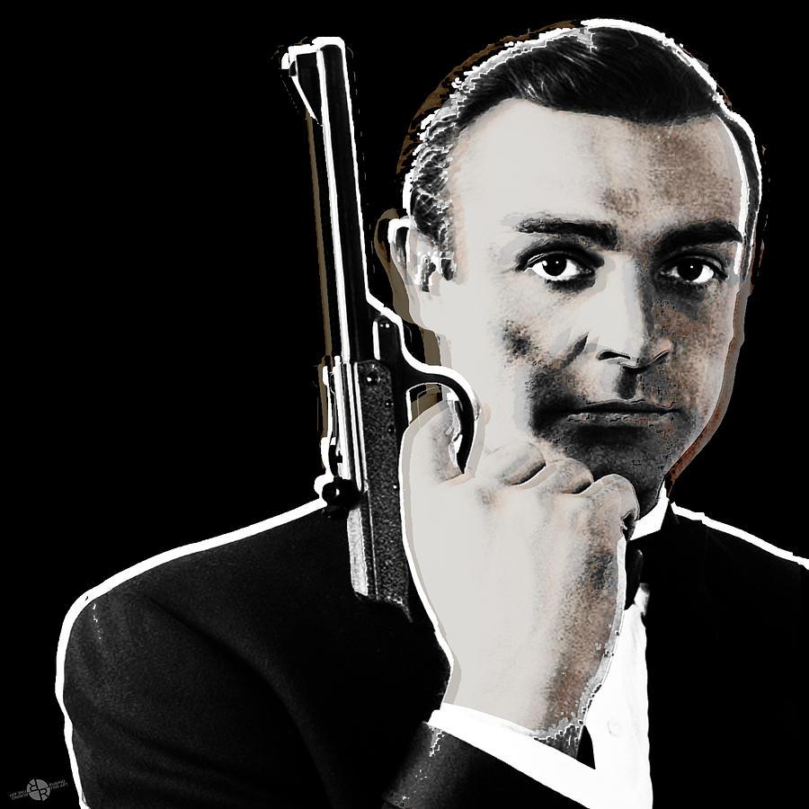 James Bond Painting - Sean Connery James Bond Square by Tony Rubino