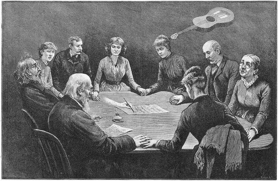 Seance Drawing - Seance At New York With An  Unnamed by Mary Evans Picture Library
