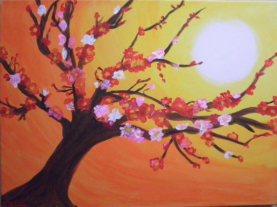 Seans Apple Bloosom Tree Painting by Tami Farina