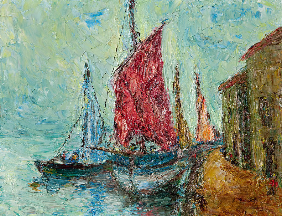 Old Painting - Seaport Painting by Russell Shively