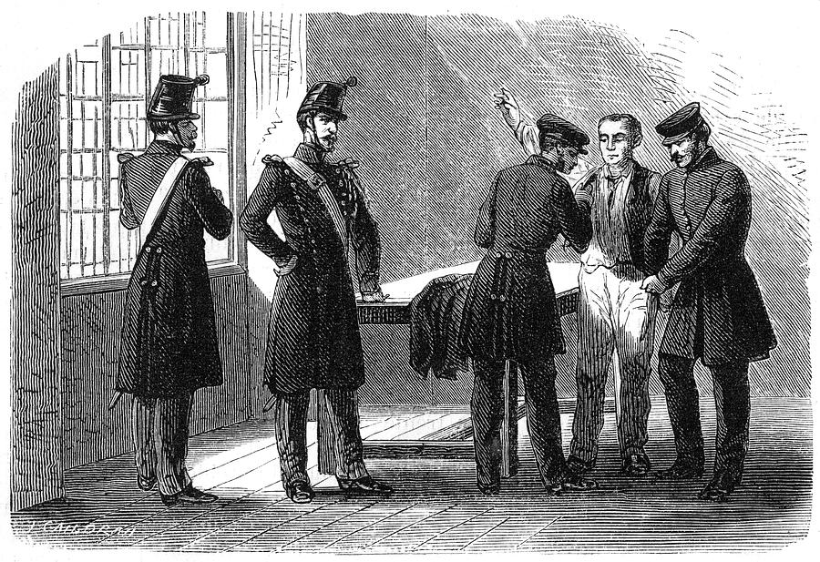 Law Drawing - Searching A Suspect At A Prefeture by Mary Evans Picture Library
