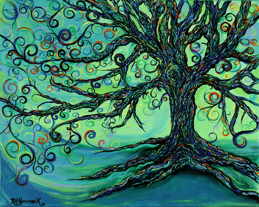 Tree Painting - Searching Branches by RK Hammock