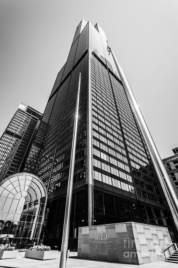 America Photograph - Sears Willis Tower Chicago Black And White Picture by Paul Velgos