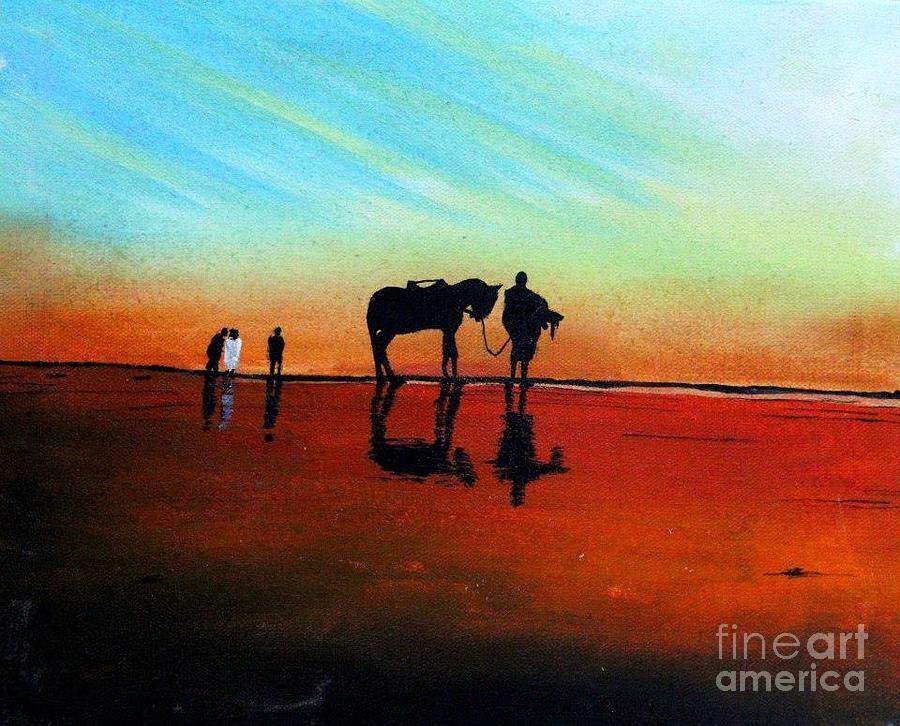 Landscape Painting - Seascape - Karachi by Sakina Zaidi