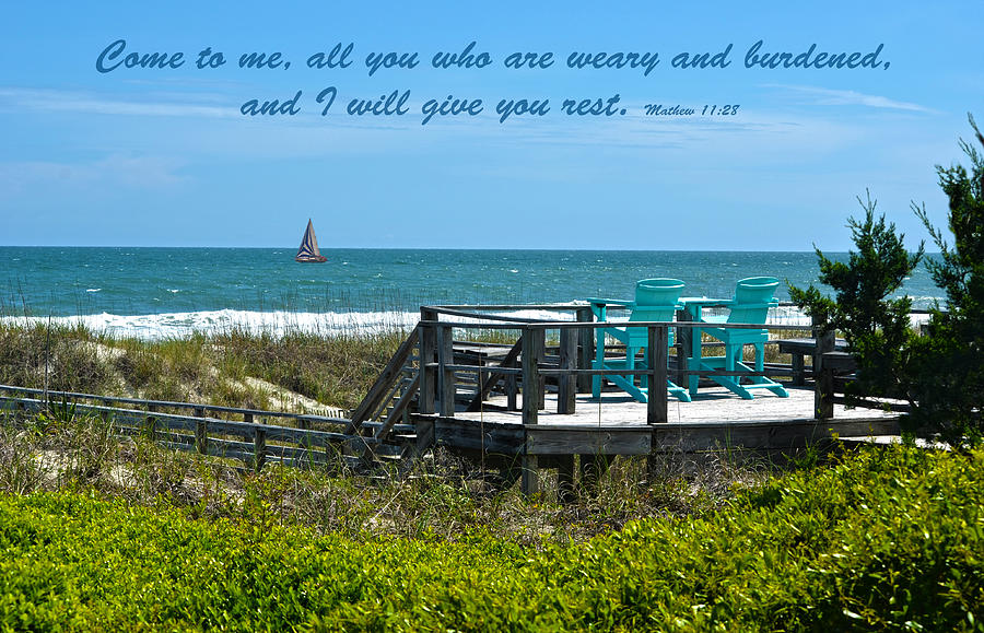 Seascape Photograph - Seascape And Scripture by Sandi OReilly