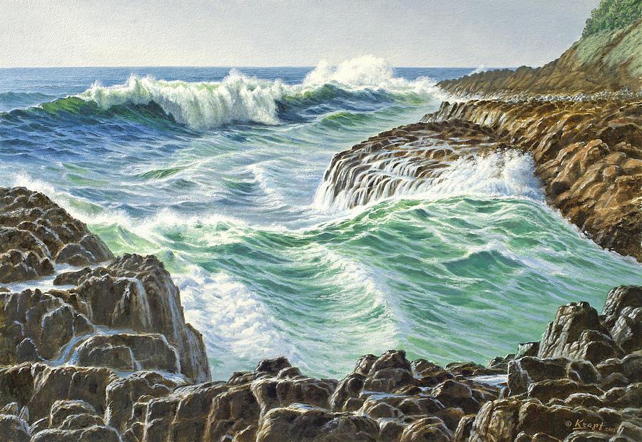 Seascape Painting - Seascape-Devils Churn-Oregon by Paul Krapf