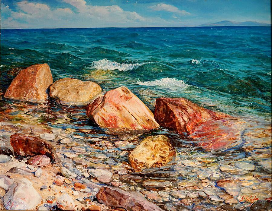 Sea Painting - Seascape - Red Rocks  by Sefedin Stafa