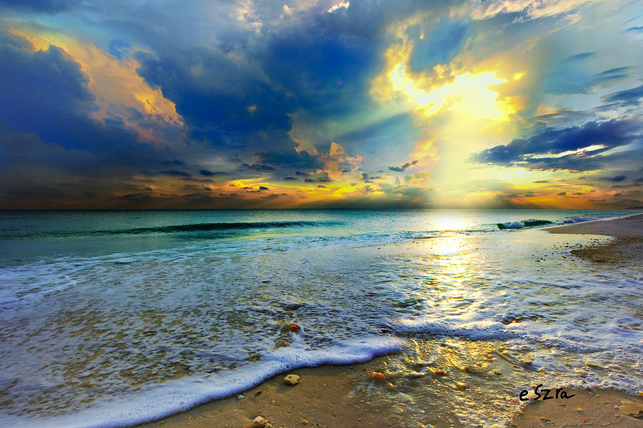 Seascape Photograph - Seascape Sunset-gold Blue Sunset by Eszra Tanner