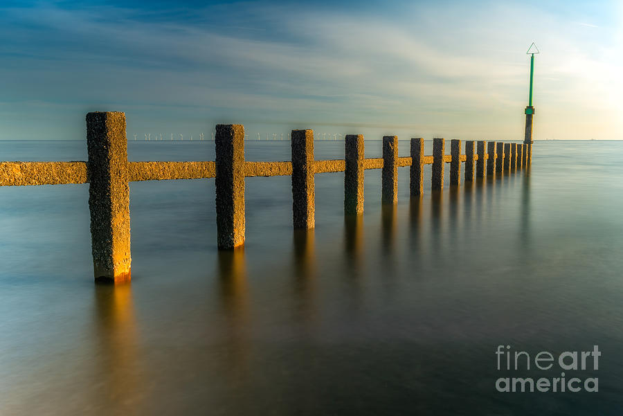 Groynes Photograph - Seascape Wales by Adrian Evans