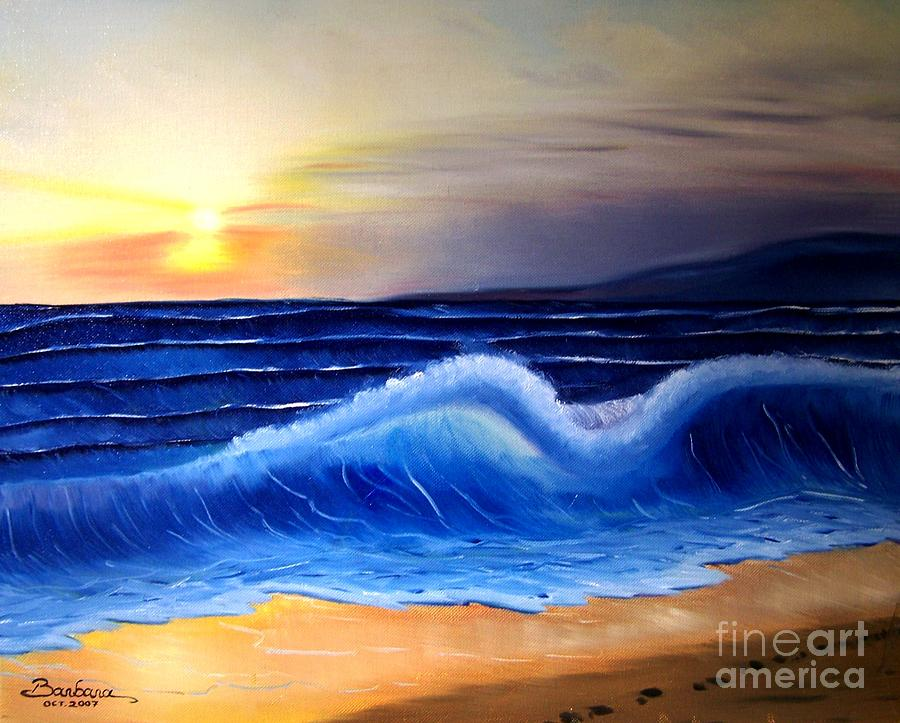 Seascape Painting - Seascape Wave by Barbara Pelizzoli