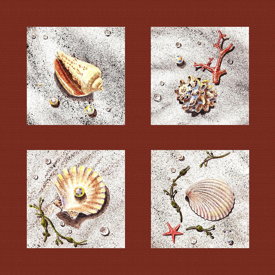 Seashell Painting - Seashell Collection Iv by Irina Sztukowski