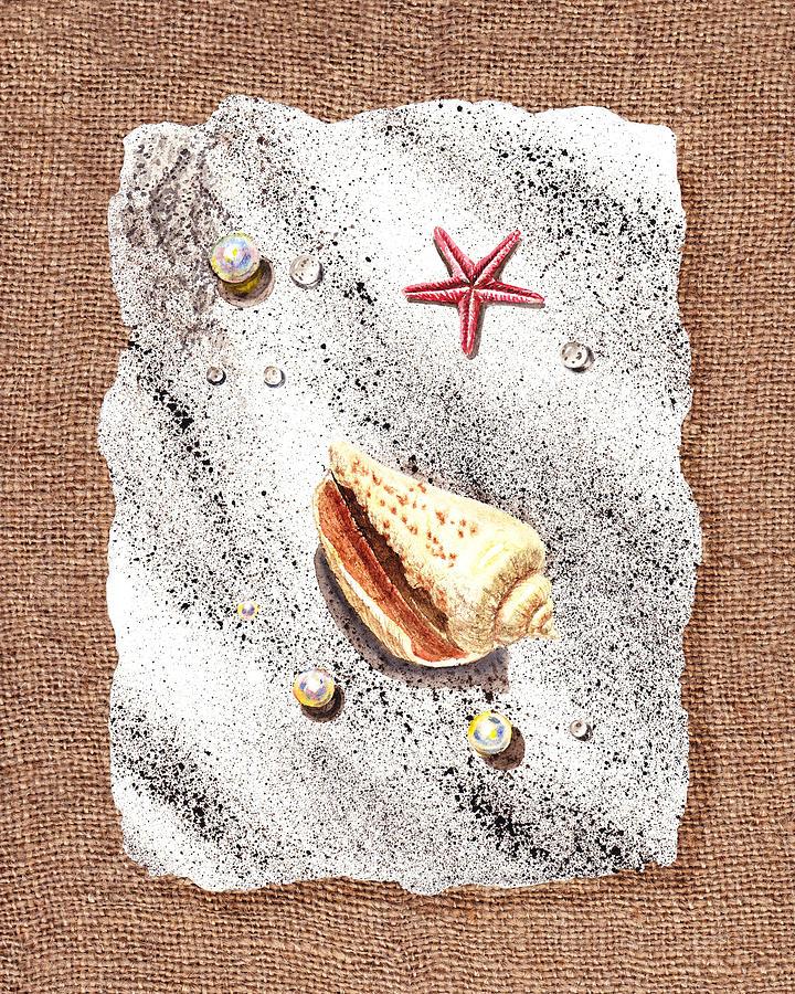Seashell Painting - Seashell Pearls And Water Drops Collection by Irina Sztukowski