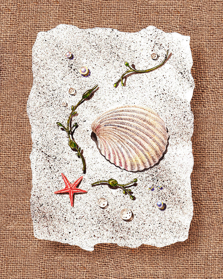 Seashell Painting - Seashell With Pearls Sea Star And Seaweed  by Irina Sztukowski