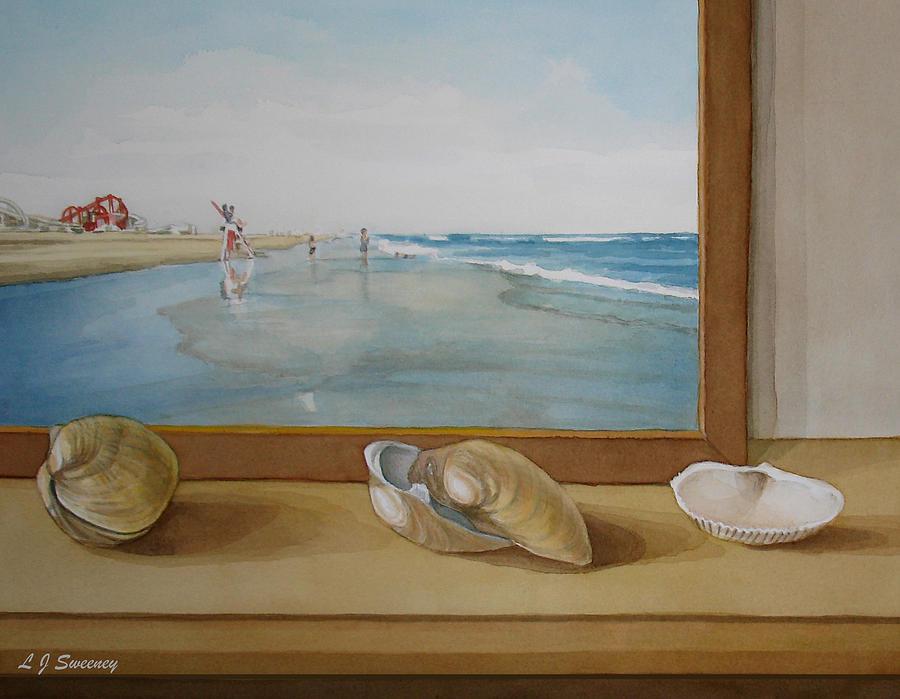 Seashells Painting - Seashells By The Jersey Shore by Lauren Sweeney