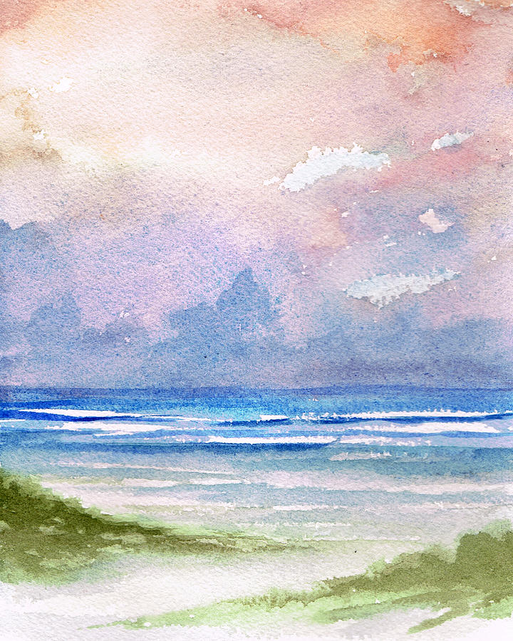 Seascape Painting - Seashore Sunset by Rosie Brown