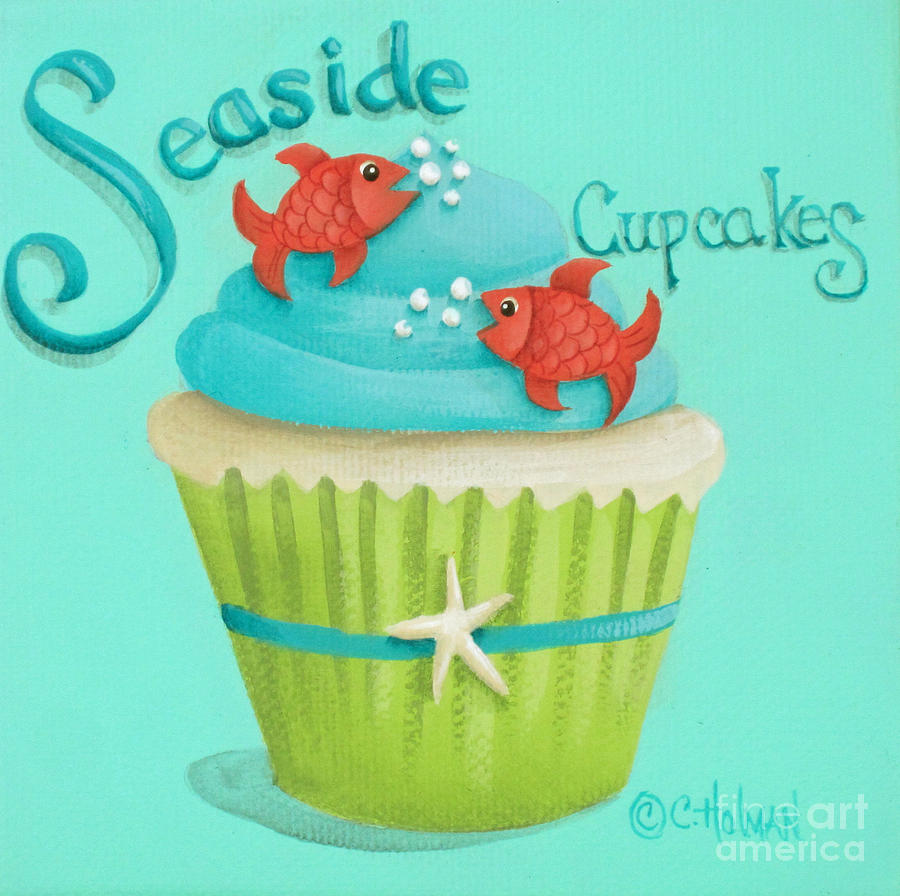 Cupcakes Painting - Seaside Cupcakes by Catherine Holman