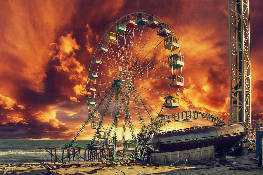 Seaside Heights Photograph - Seaside Ferris Wheel by Kim Zier