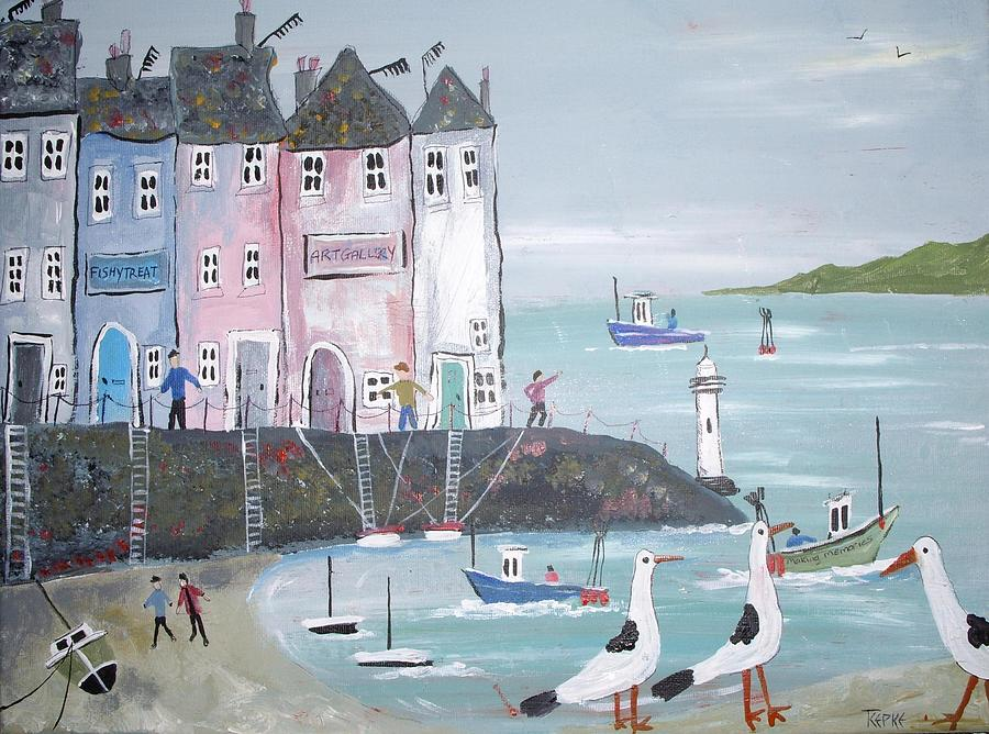 Seascape Painting - Seaside Houses by Trudy Kepke