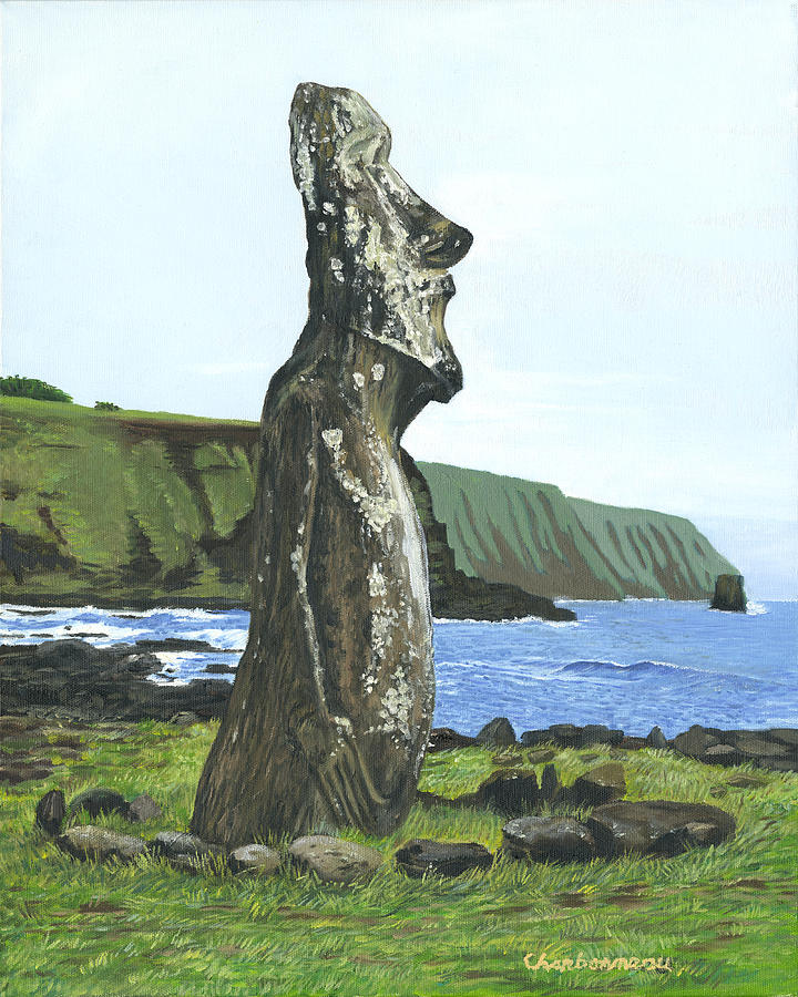 Easter Island Painting - Seaside Moai by Brent Charbonneau