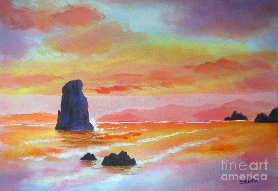 Seascape Painting - Seaside  Shadings  by Shasta Eone