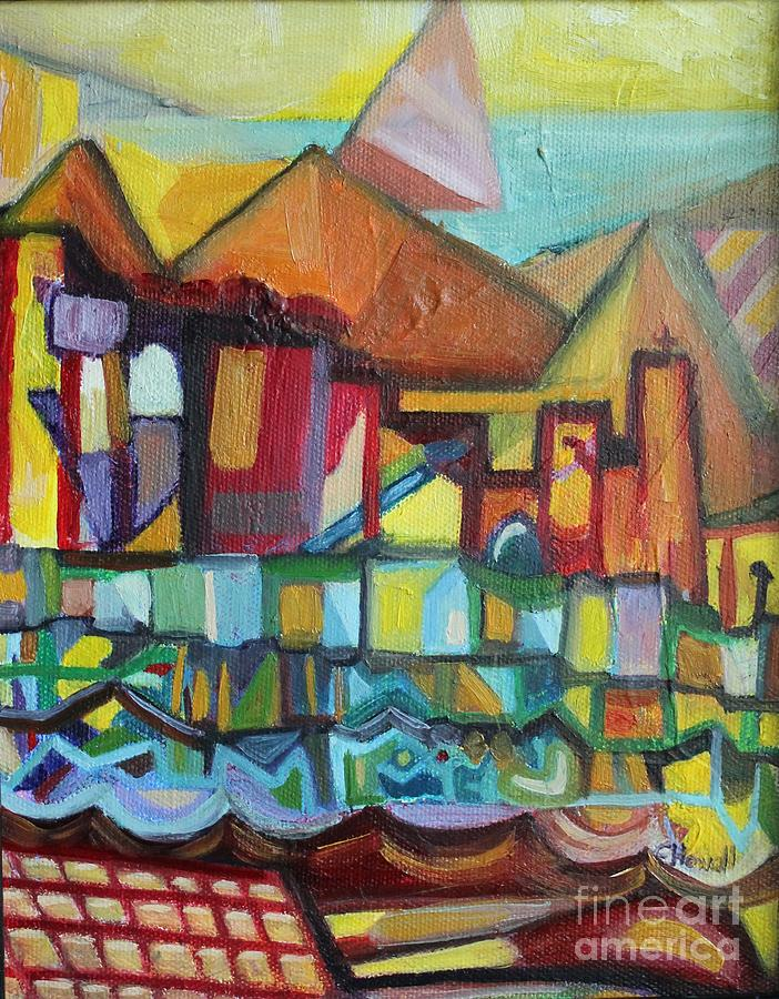 Landscape Painting - Seaside Village by Ellen Howell