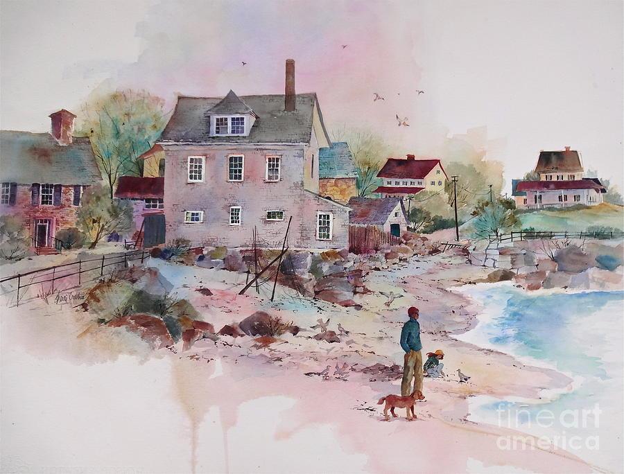 New England Village Painting - Seaside Village by Sherri Crabtree